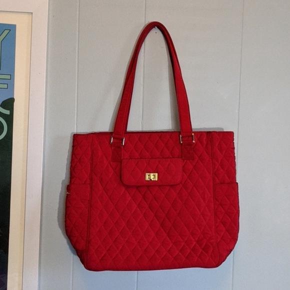 Vera Bradley Handbags - Vera Bradley Red Quilted Signature Tote